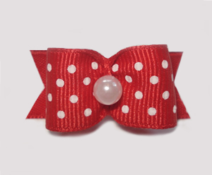 "#1520 - 5/8"" Dog Bow - Red & White Swiss Dots, Pearl"