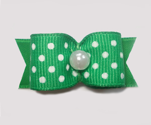 "#1522 - 5/8"" Dog Bow - Green & White Swiss Dots, Pearl"