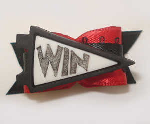 "#1531 - 5/8"" Dog Bow - Cheerleader WIN Flag, White/Black, Red"