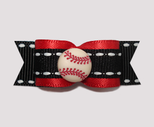 "#1534 - 5/8"" Dog Bow - Baseball, Red, Black & White"
