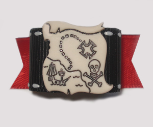 "#1535 - 5/8"" Dog Bow - Unique Pirate Treasure Map, Red & Black"
