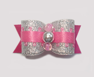 "#1542 - 5/8"" Dog Bow - Special Party Pink & Silver. Fancy & Fun!"