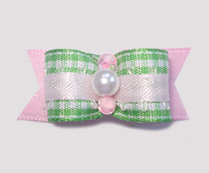 "#1543 - 5/8"" Dog Bow - Sweet Green & White Gingham w/Pale Pink"