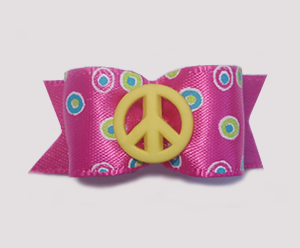"#1544 - 5/8"" Dog Bow - Yellow Peace Sign, Hot Pink, Circles/Dots"