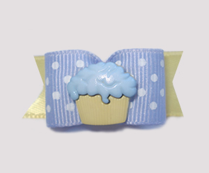 "#1545 - 5/8"" Dog Bow - Cupcake, Periwinkle & Yellow, White Dots"