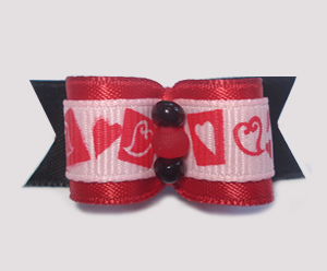 "#1546 - 5/8"" Dog Bow - Sweet & Unique Hearts, Red & Black"