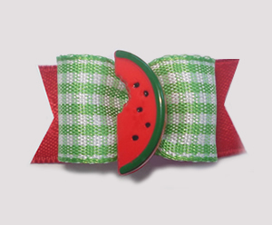 "#1548 - 5/8"" Dog Bow - Sweet Watermelon, Green & White Gingham"