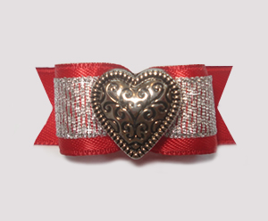 "#1573 - 5/8"" Dog Bow - Special Heart, Red Satin, Silver Heart"