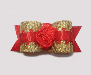"#1575 - 5/8"" Dog Bow - Beautiful Party Red & Gold, Red Rosette"