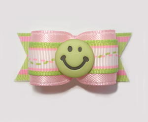 "#1579 - 5/8"" Dog Bow - Green Smiley Face, Pink & Lime Green"