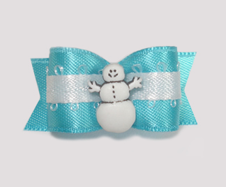 "#1593 - 5/8"" Dog Bow - Happy Snowman, Blue & White"