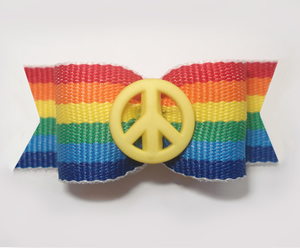 "#1597 - 5/8"" Dog Bow - Custom - Cool Peace Sign, Rainbow Stripes - Click Image to Close"