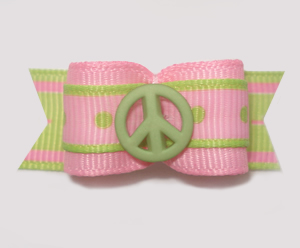 "#1600 - 5/8"" Dog Bow - Sweet Peace, Pink & Lime"