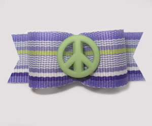 "#1602 - 5/8"" Dog Bow - Green Peace, Purple & Green Stripe"