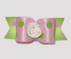 "#1603 - 5/8"" Dog Bow - Dotted Delight of Pink & Lime"