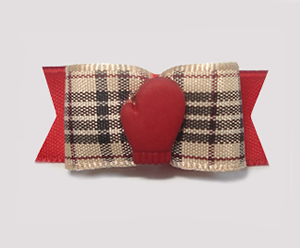 "#1606- 5/8"" Dog Bow- Little Red Mitten, Designer Plaid Tartan"