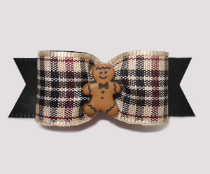 "#1611 - 5/8"" Dog Bow - Sweet Gingerbread, Designer Plaid"