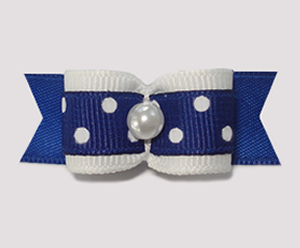 "#1616 - 5/8"" Dog Bow - Navy with White Dots, Faux Pearl"