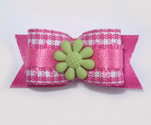 "#1620 - 5/8"" Dog Bow - Sweet Pink & White Gingham, Green Flower"