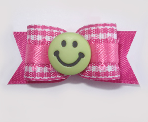 "#1621 - 5/8"" Dog Bow - Sweet Pink & White Gingham, Green Smiley"