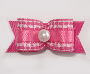 "#1622 - 5/8"" Dog Bow - Sweet Pink & White Gingham, Faux Pearl"