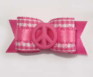 "#1623 - 5/8"" Dog Bow - Sweet Pink & White Gingham, Pink Peace"