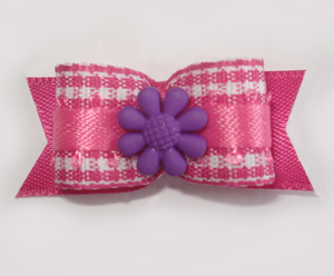 "#1624 - 5/8"" Dog Bow - Sweet Pink & White Gingham, Purple Flower"