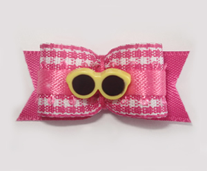 "#1626 - 5/8"" Dog Bow - Pink & White Gingham, Yellow Sunglasses"
