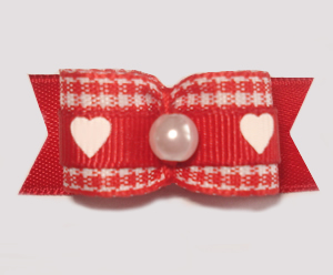 "#1629 - 5/8"" Dog Bow - Adorable Red & White, White Hearts, Pearl"