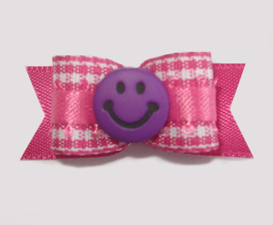 "#1635 - 5/8"" Dog Bow - Sweet Pink & White Gingham, Purple Smiley"