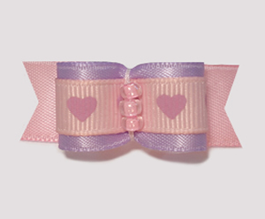 "#1647 - 5/8"" Dog Bow - Adorable Pink & Lavender Hearts"