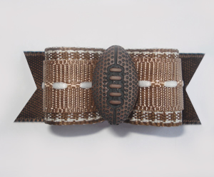 "#1652 - 5/8"" Dog Bow - Football, Brown & White"