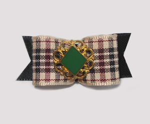 "#1656 - 5/8"" Dog Bow - Chic Designer Plaid, Green Diamond"