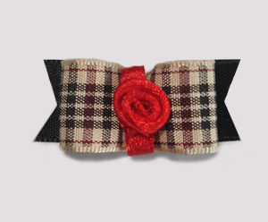 "#1657 - 5/8"" Dog Bow - Chic Designer Plaid, Red Rosette"