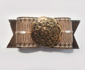"#1663 - 5/8"" Dog Bow - Warm Brown and White, Ornate Gold"