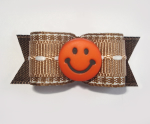 "#1664 - 5/8"" Dog Bow - Warm Brown and White, Orange Smiley Face"