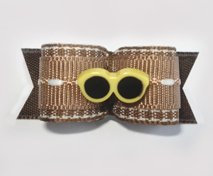"#1665 - 5/8"" Dog Bow - Warm Brown and White, Yellow Sunglasses"