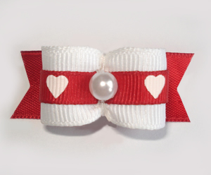 "#1671 - 5/8"" Dog Bow - Adorable Hearts, White with Red, Pearl"