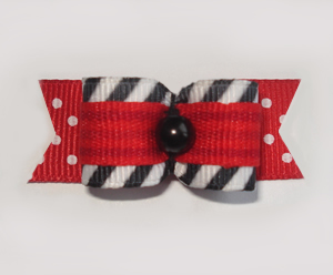 "#1673 - 5/8"" Dog Bow - Punky Stripes and Dots, Red & Black"