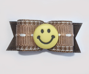 "#1679 - 5/8"" Dog Bow - Brown & White, Yellow Smiley Face"