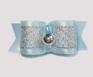 "#1684 - 5/8"" Dog Bow - Soft Blue with Fancy Silver"