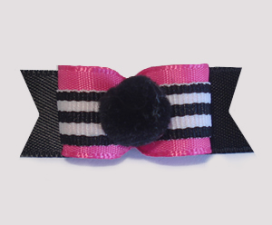 "#1694 - 5/8"" Dog Bow - Pom-Pom Black, Dramatic Hot Pink"