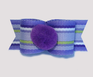 "#1695 - 5/8"" Dog Bow - Pom-Pom Purple, Fun Stripes"