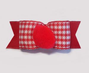 "#1696 - 5/8"" Dog Bow - Pom-Pom Red, Cute Gingham"