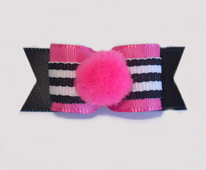 "#1709 - 5/8"" Dog Bow - Pom-Pom Hot Pink, B&W Stripes"