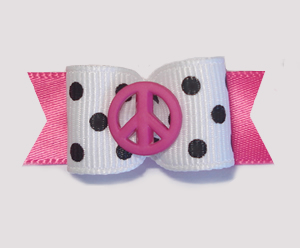 "#1710 - 5/8"" Dog Bow - Chic Pink Peace, Black & White Dots"