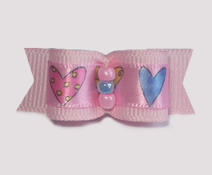 "#1717 - 5/8"" Dog Bow - Sweet Hearts, Pink with Blue"