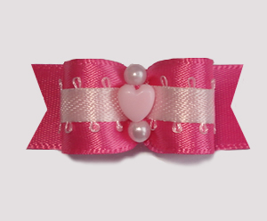 "#1719 - 5/8"" Dog Bow - Sweetheart Pinks, Baby Pink Heart"