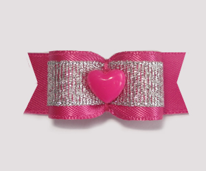 "#1723 - 5/8"" Dog Bow - Sweet Hot Pink and Silver, Hot Pink Heart"