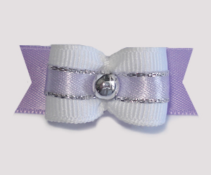 "#1735 - 5/8"" Dog Bow - Baby Lavender, White w/Lavender & Silver"